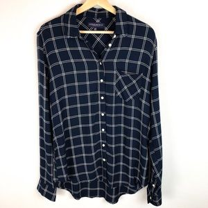 AEROPOSTALE NAVY BLUE BUTTON DOWN WOVEN TOP
